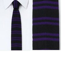 BNWT Rock & Republic Striped Skinny Tie Black Purple Men's