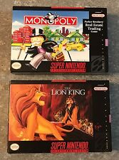 2-CIB SNES Video Games The Lion King & Monopoly *Great Condition*Super Nintendo