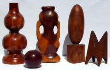 Set of 5 whimsical cedar carvings. Great form, function, and very decorative.