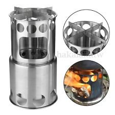 Outdoor Portable Hiking Wood BBQ Stove Cooking Picnic Burning Camping Burner