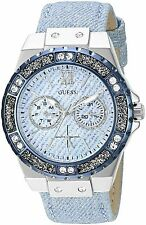 GUESS Women's Sky Blue Sparkle Denim on Leather Strap Watch 39mm U0775L1 NWB/NWT