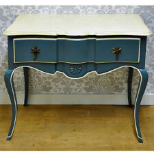 French Style Shabby Chic Dark Blue Wooden Painted Mahogany Console Hall Table