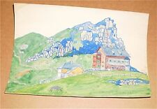 "The Alps Landscape-7 x 10"" Watercolor-1921-Otto Rothenburgh- Listed"