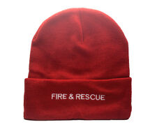 Fire & Rescue Red Woolly Hat - Retaining Fire Personel  Emergency Services