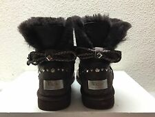 UGG MINI BAILEY BRAID SWAROVSKI CRYSTAL CHOCOLATE BOOTS US 11 / EU 42 / UK 9.5