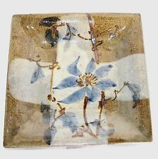"""Stoneware Pottery 8"""" Square Blue Floral Serving Plate Sushi Dish Cracker Tray"""