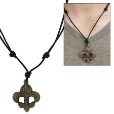 Antique Brass Trinity Fleur de Lis Medieval Renaissance Pendant Necklace