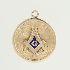 Blue Lodge Fob Pendant - 10k Yellow Gold Blue Enamel Masonic Charm