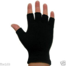 FINGERLESS WOVEN GLOVES WARM KNITTED STRETCH BLACK MEN LADY