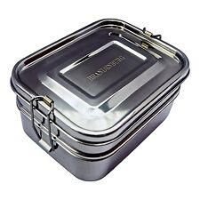 Brandenburg Classic Stainless Steel Bento Box, Eco-Friendly Lunch Box 3-in-1 Box