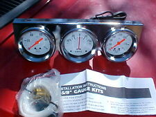chrome 2&5/8 gauge set,oil,water,amp,rat hot rod,nice,gasser,mechanical,chevy