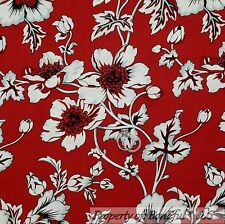 BonEful Fabric FQ Cotton Quilt Red Gray Black White B&W Flower Large Toile Girl