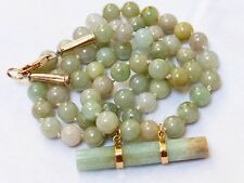 CHINESE 14k gold VINTAGE GREEN JADE BEADED NECKLACE PENDANT,53 grams