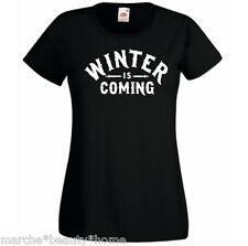 WOMENS winter is coming game of thrones tight fit t shirt black tv slogan XL