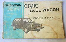 1978 HONDA civic wagon  OWNERS MANUAL ORIGINAL