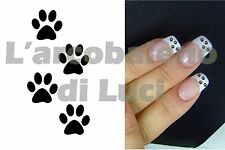 20 PEGATINAS PARA UÑAS PEQUEÑAS HUELLAS NEGRO BLACK PAWS NAIL ART NAILS STICKERS