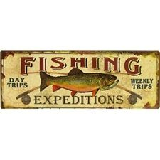Fishing Expeditions Tin Sign. Garage Mancave Wall Art Decorative Decor. NEW