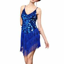 FLAPPER FRINGE 1920s GREAT GATSBY CHARLESTON SEQUIN PARTY LATIN DRESS SMALL UK