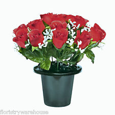 Grave pot artificial Roses & gyp flowers memorial arrangement Red