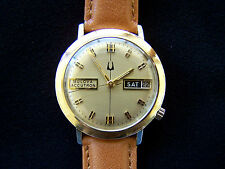 1969 (M9) Men's Bulova Accutron Day Date 14k Gold  Dress Watch - Serviced - 2182