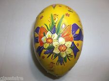 Vintage German Paper Mache EGG Candy Container CHICKS BOW Flowers Easter Eggs