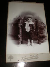 Old cabinet photograph boy big hat by Gothard at barnsley c1890s Ref 515(16)