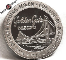 $5 PROOF-LIKE STERLING SILVER SLOT TOKEN GOLDEN GATE CASINO 1967 FM LAS VEGAS NV