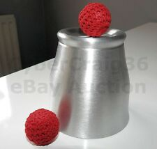 CHOP CUP METAL ALUMINIUM CLOSE UP & STAGE CLASSIC MAGIC TRICK AND RED BALL PROP