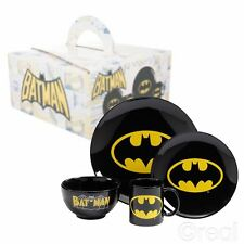 Nueva DC Comics Batman Logo Vajilla de 4 piezas Plato Bol Taza Desayuno Oficial
