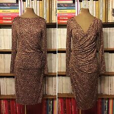 LK BENNETT reversible dress UK 14 / US 10 silk ruched fitted cocktail print wrap