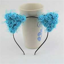 Cute Girl Devil Cat Ear Halloween Costume Party Voile Flower Headband Hair Band