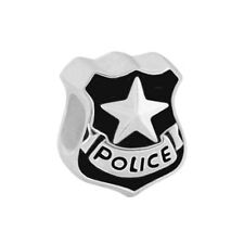 Police Badge 925 Sterling Silver Bead fits European Modular Charm Bracelets
