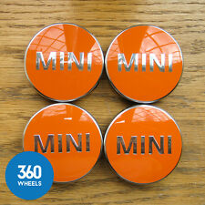 4 x NEW GENUINE ORIGINAL MINI ALLOY WHEEL CENTRE CAPS HUB BADGES ORANGE F56