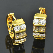Fashion Womens girls Hoop earrings jewelry Gold Filled crystal lucky lot