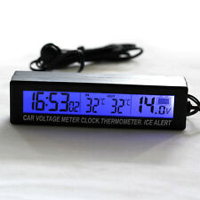 LCD Digital Auto Car Clock Thermometer Temperature Voltage Meter Battery Monitor