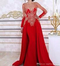 Long Sleeve Mermaid Evening Dresses Lace Beading Arabic Formal Women Gowns