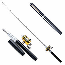 Mini Portable Pocket-size Fish Pen Aluminum Alloy Fishing Rod Pole Reel Combos