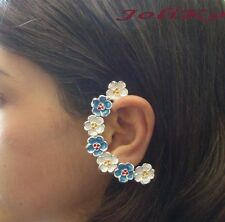JoliKo Ohrringe Ohrklemme Ear cuff Fee Miss Summer Blumen Kranz Weiss Blau LINKS