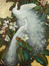 "Art large Oil painting birds white peacocks on flowers branch - canvas 24""x36"""