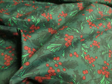 2.2 Metres Green & Red Holly Berries, Christmas Printed Polycotton Fabric