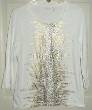 Chico's Weekends Top Shirt Gold Foil Sequins Slub Knit Size 1 Ladies Womens