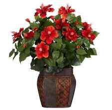24 in. H Red Hibiscus Vase Silk Plant Artificial Container Arrangement Home 6667