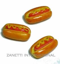 Set of 3 Dollhouse Miniature Mustard Hot Dogs * Doll Mini Fast Food Bakery Bread