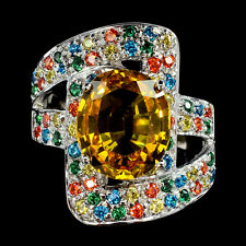 MAGNIFICENT GEMS 6.65 CT YELLOW  SAPPHIRE OVAL STERLING SILVER 925 RING SIZE 8