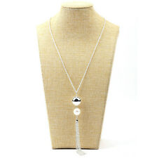 Fashion Women's Lady Pearls Long Chain Charms Sweater Tassel Silver Necklace