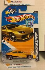 Lamborghini Estoque #128 * Yellow w/ RED LINE * Factory 2012 Hot Wheels * Y30