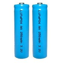 2 x 3.2V LiFePO4 14500 AA 250mAh Li-Ion Rechargeable Batteries for Solar Lights
