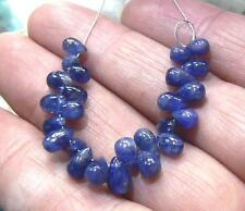25 RARE GENUINE NATURAL BLUE SMOOTH SAPPHIRE BRIOLETTE BEADs 21.5ct 5-7mm