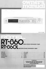 Rotel RT-860 Tuner Owners Manual