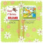 20 PERSONALISED JUNGLE SAFARI CUP CAKE FLAG Birthday Party Pick Food Topper